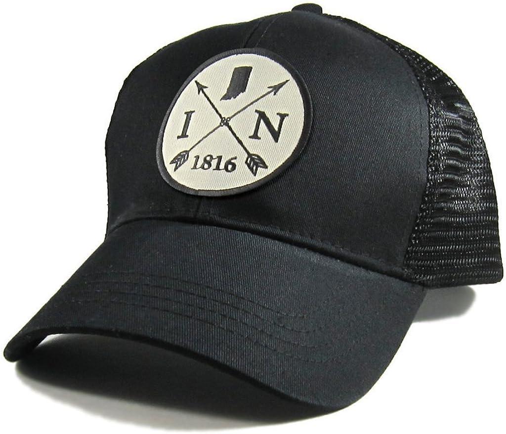 Homeland Tees Mens Indiana Arrow Patch All Black Trucker Hat
