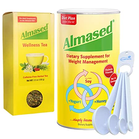 Almased Multi Protein Weight Management Supplement with Wellness Tea Bundle with Lumintrail Measuring Spoons Set of 4