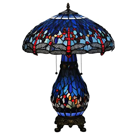25 5 H Tiffany Hanginghead Dragonfly Lighted Base Table Lamp