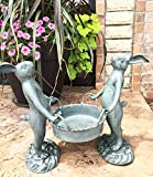 Whimsical Hardworking Bunny Rabbit Gardeners Flower Pot Planter Holder Garden Decor Aluminum Statue For Pool Patio Decoration Functional Nature Outdoor