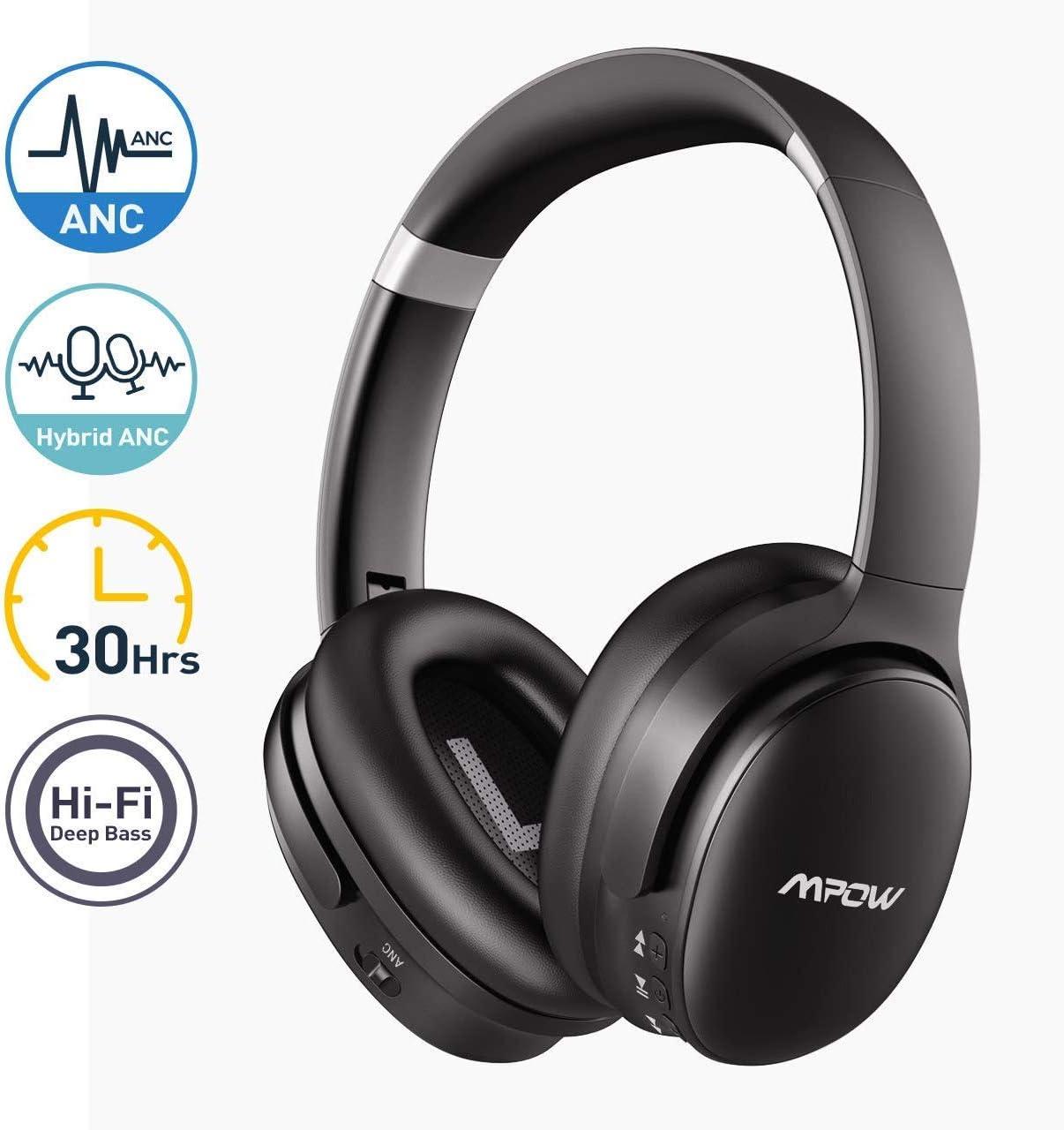 Mpow H10 Auriculares con Cancelación de Ruido Activo, 30 Hrs de Reproducción, CVC 6.0, Hi-Fi Sonido y Bajo Potente, Auriculares Diadema Bluetooth con Mic, Auriculares Plegable para TV/PC/Móvil