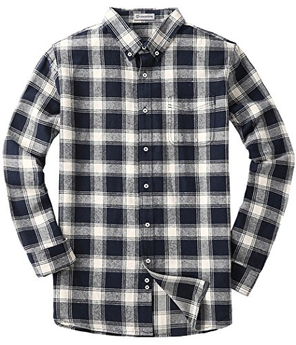 MOCOTONO Mens Long Sleeve Flannel Plaid Dress Shirt Western Button Down Shirts White and Navy XX-Large…