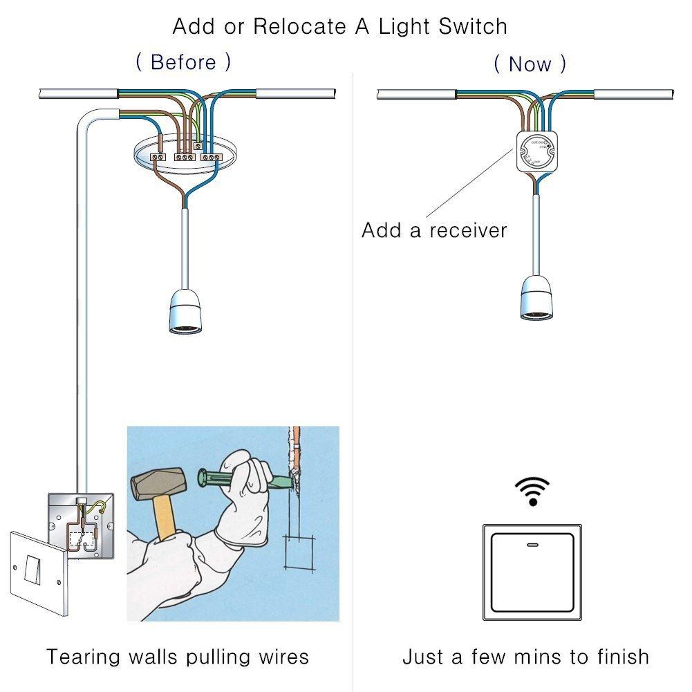 HiYill Wireless Self-power Lights Switch Kit, Add a Light Swtich ...