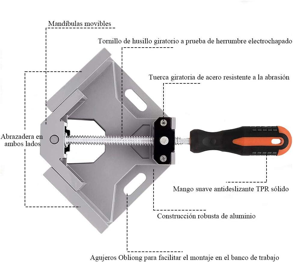 90/° Abrazadera de esquina Mordaza Ajustable metal y vidrio Abrazadera de Angulo Recto Tornillo giratorio de husillo de acero al carbono para conectar madera