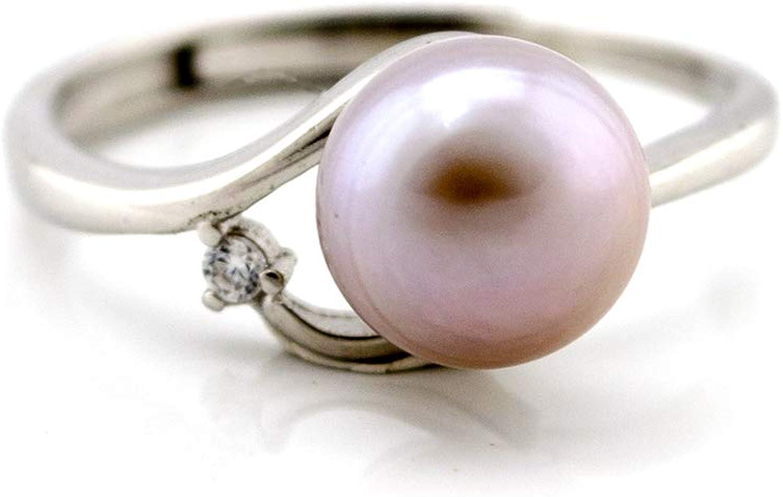 Anillo de Plata con Perla y Piedra de circonita.Perla de Agua Dulce cultivada y Plata de Ley 925.Regalo para Cada Mujer,Madre,Novia.Moda 2020