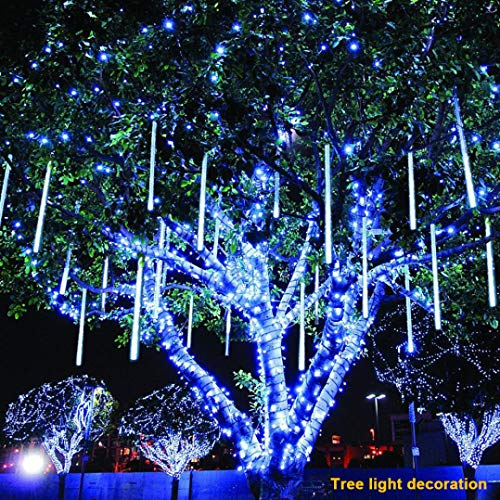 Coohole LED Meteor Shower Rain Lights,Outdoor Meteor Shower LED 60cm 8 Tubes String Waterproof Outdoor Xmas Lights for Holiday Xmas Tree Halloween Wedding Party Decoration (Blue)
