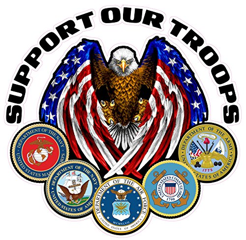 Nostalgia Decals Support Our Troops Version 2 Small Decal is 3