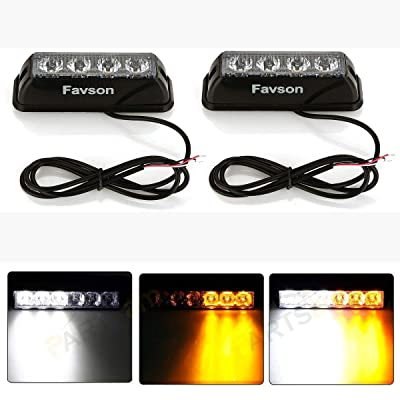 Favson 4 LED Strobe Lights for Trucks Cars Van with High Intensity White&Yellow Emergency Flasher (2pcs): Automotive