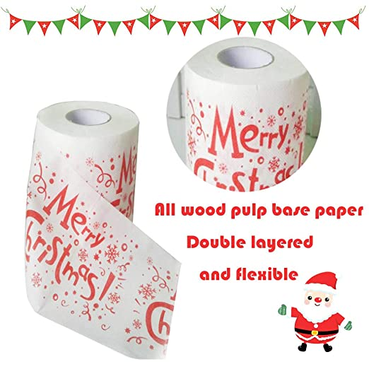 Merry Christmas Toilet Roll Paper, Santa Claus Pattern Roll Paper Print Interesting Toilet Paper Table Kitchen Paper Towel (1 PC): Amazon.com: Grocery ...