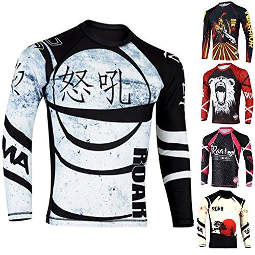 (ROAR MMA Grappling Rash Guard BJJ Crossfit Training Gym Workout Compression Shirt (Ninja Shirt, Large))