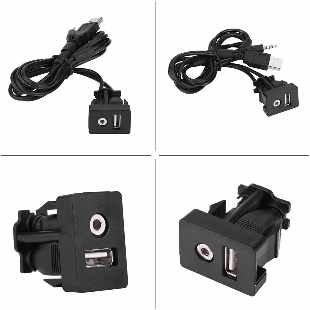 Universal Car Boat Dash Flush Mount USB Port 3.5mm AUX Jack Extension Cable Lead Mounting Panel AUX Extension Dash Panel Car Flush Mount Cable Black Lead Mounting Panel