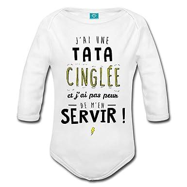 Spreadshirt J Ai Une Tata Cinglée Body bébé Bio Manches Longues  Amazon.fr   Vêtements et accessoires e299473cafb