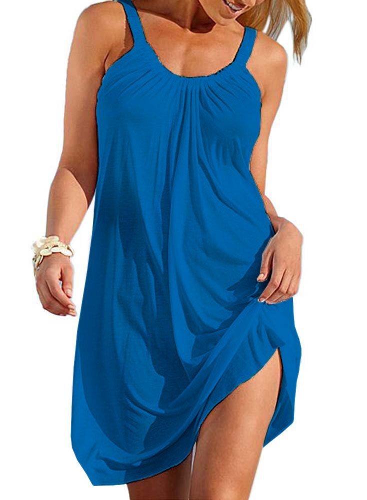 Cotton Summer Dresses for Women Casual Loose Sundress Plain Lightweight Beach Cover Up Size C
