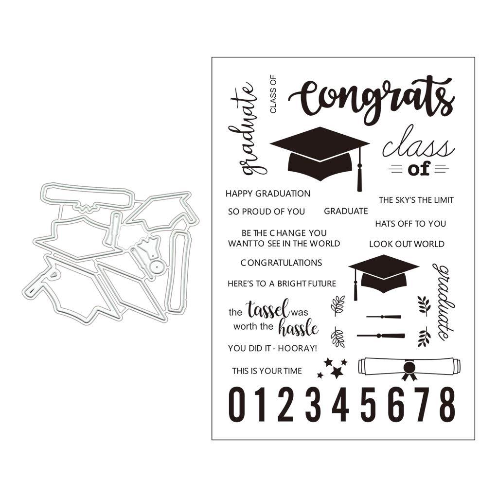 Kncobuec Tapa de graduaci/ón Plantillas de troqueles de corte de metal para /álbum de recortes DIY Tarjeta de papel Manualidades En relieve