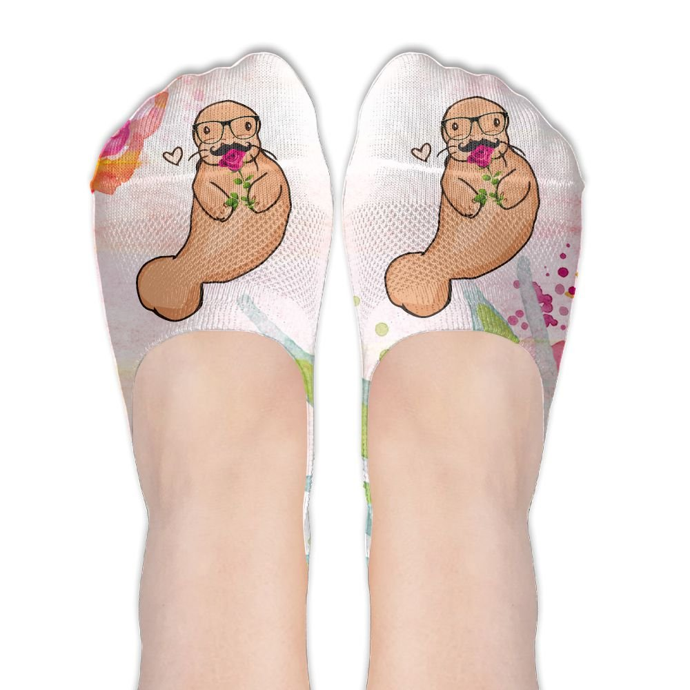 Love Studious Manatee With Glasses Women's Thin Casual No Show Socks Non Slip Flat Boat Line