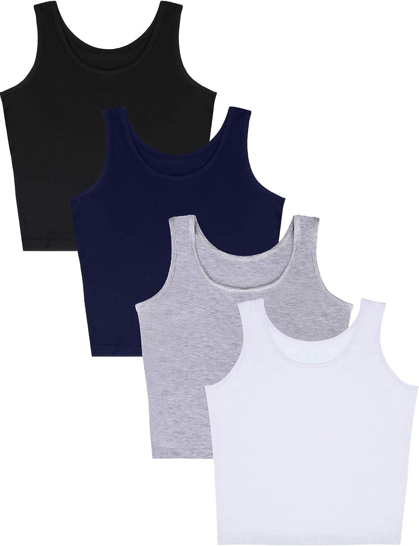 4 Pieces Women Cotton Basic Crop Tank Top Short Sleeveless Sports Crop Top