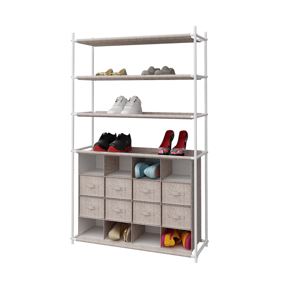 HOME BI 8 Tiers Shoe Rack, 2 in 1 shoe drawer organizer Closet Storage with 16 cubes and Metal Shoe Shelf for Hallway Living Room Space Saver, 33''x12''x52''