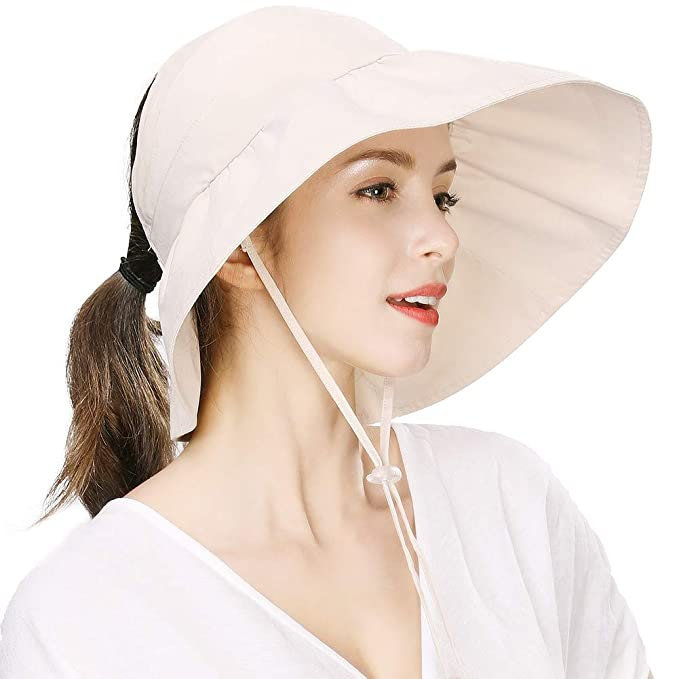 fdd97309 Bucket Cap Women Visor Packable Ponytail Sun Hat with String Golf SPF 50 Garden  Hiking Protection