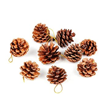9x Pinecones Baubles Hanging Christmas Xmas Tree Holiday Decoration Pine Cone