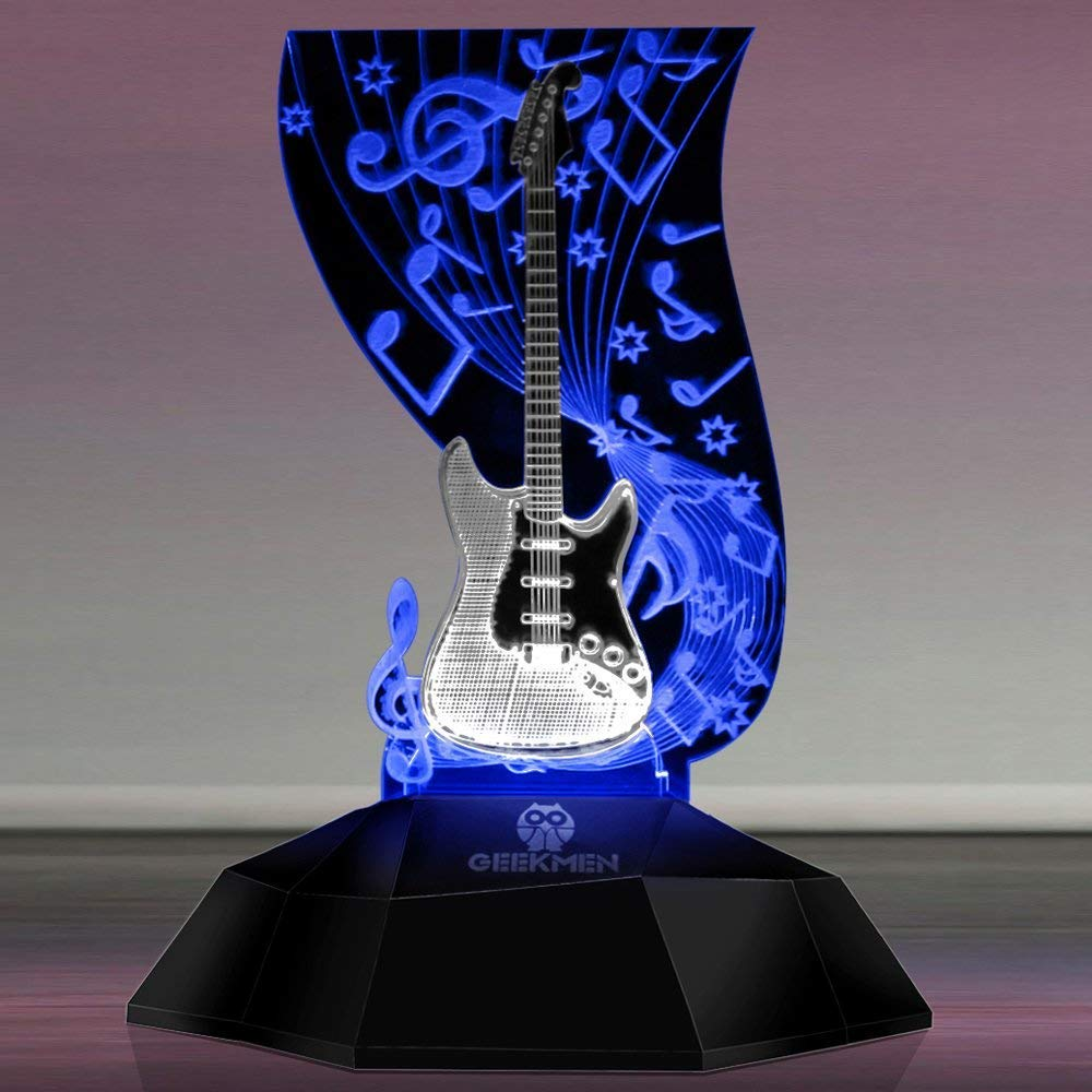 Novelty Lamp, Music Note Indoor Lighting, Touch Switch Illusion Optical Table Lamp Art Music Instrument Guitar 3D Line Lamp LED Decorative Night Light Guitarist Music Room Decor Unique Gift Idea for M by LIX-XYD (Image #7)
