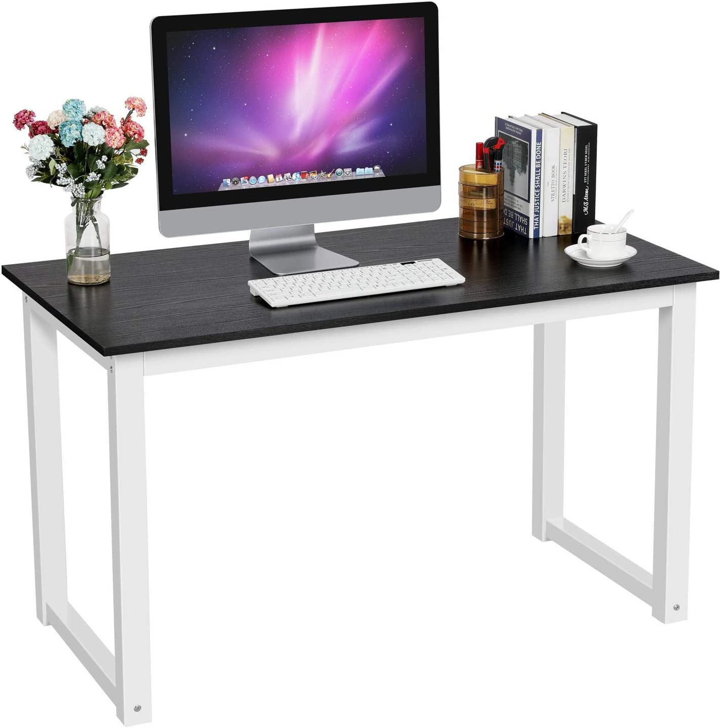 YAHEETECH Simple Computer Desk, PC Laptop Writing Study Table, Gaming  Computer Table, Workstation Wood Desktop Metal Frame, Modern Home Office
