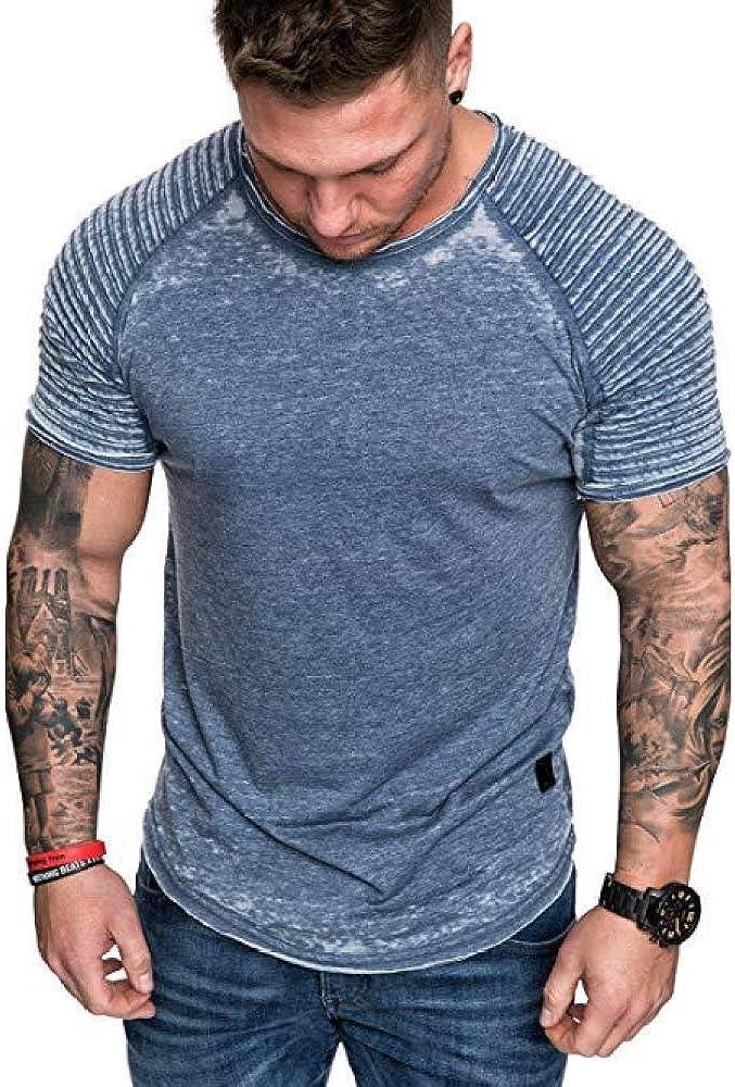 CFWL Camiseta Casual De Color SóLido Arrugada para Hombre Camiseta Deportiva Casual De Manga Corta Camiseta De Verano Camisa De Lino A Rayas, De Manga ...