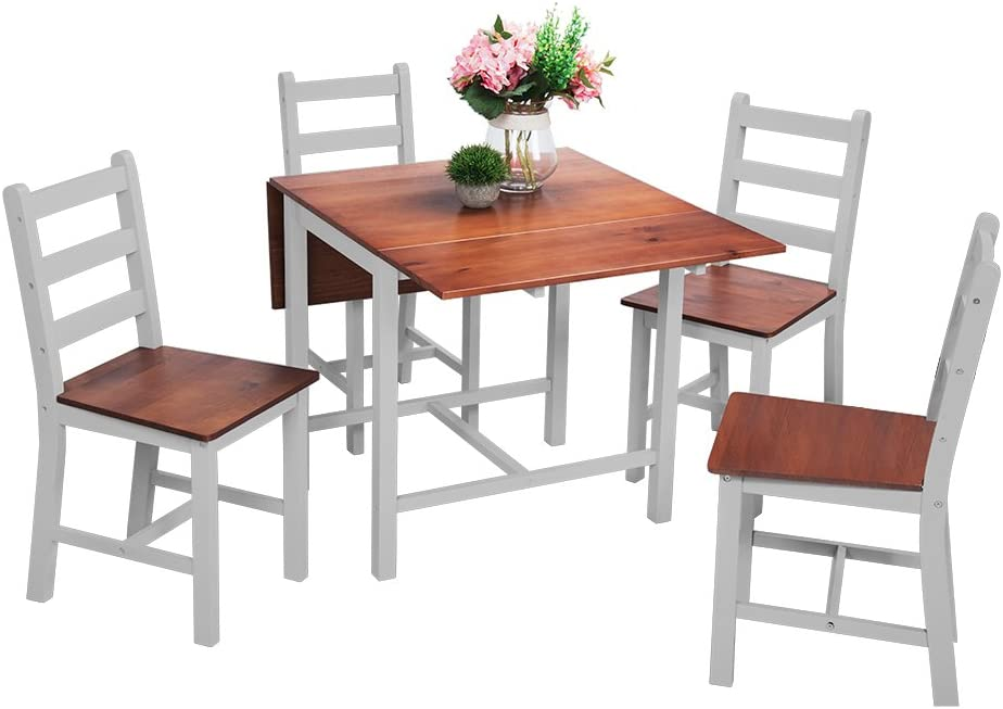 Panana Dropleaf Dining Table Folding Set with 4 Chairs Solid Wood Dining Set Kitchen Furniture Grey