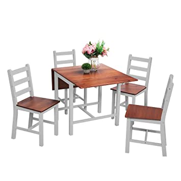 Beshomethings Kitchen Drop Leaf Folding Dining Table And 4 Chairs Set Extendable Solid Pine Wood Home Furniture Grey