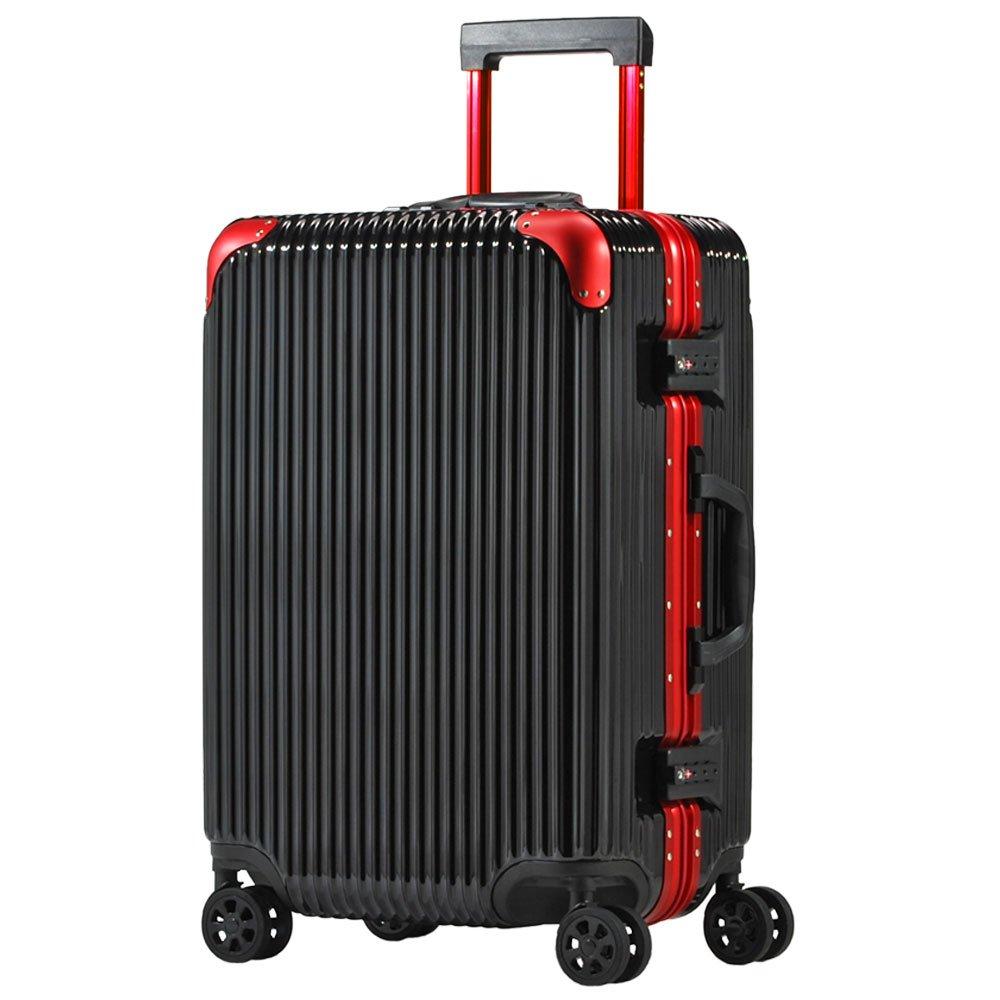 スーツケース アルミフレーム 機内持込~大型 軽量 超消音 ダブルキャスター 8輪 TSA キャリーケース キャリーバッグ B074XT3WNK L(5~7泊)-66L ブラック/レッド ブラック/レッド L(5~7泊)-66L