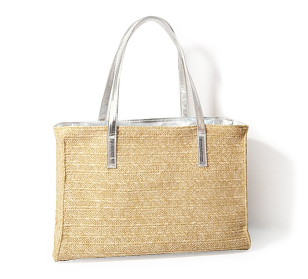 Hoxis Holiday Beach Straw Faux Leather Handle Tote Womens Shoulder Handbag (Silver)