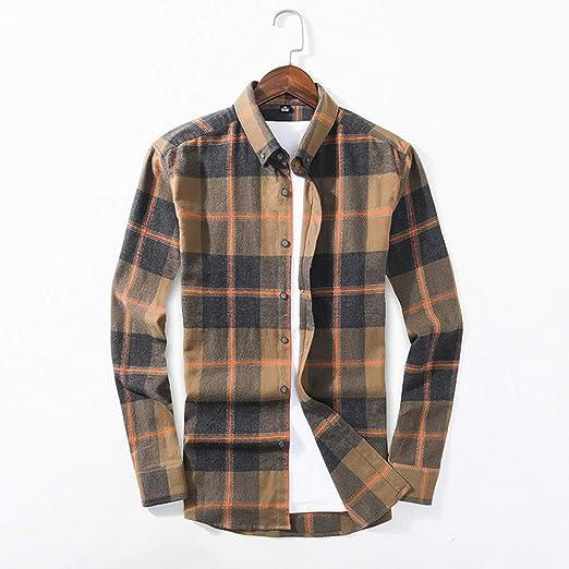 Camisa Camisas clásicas de cuadros de los hombres, Camisa formal Camisas casuales con botones sólidos para hombres, Camisa de manga larga con cuello sólido para hombre Blusa suelta Transpirable: Amazon.es: Productos para
