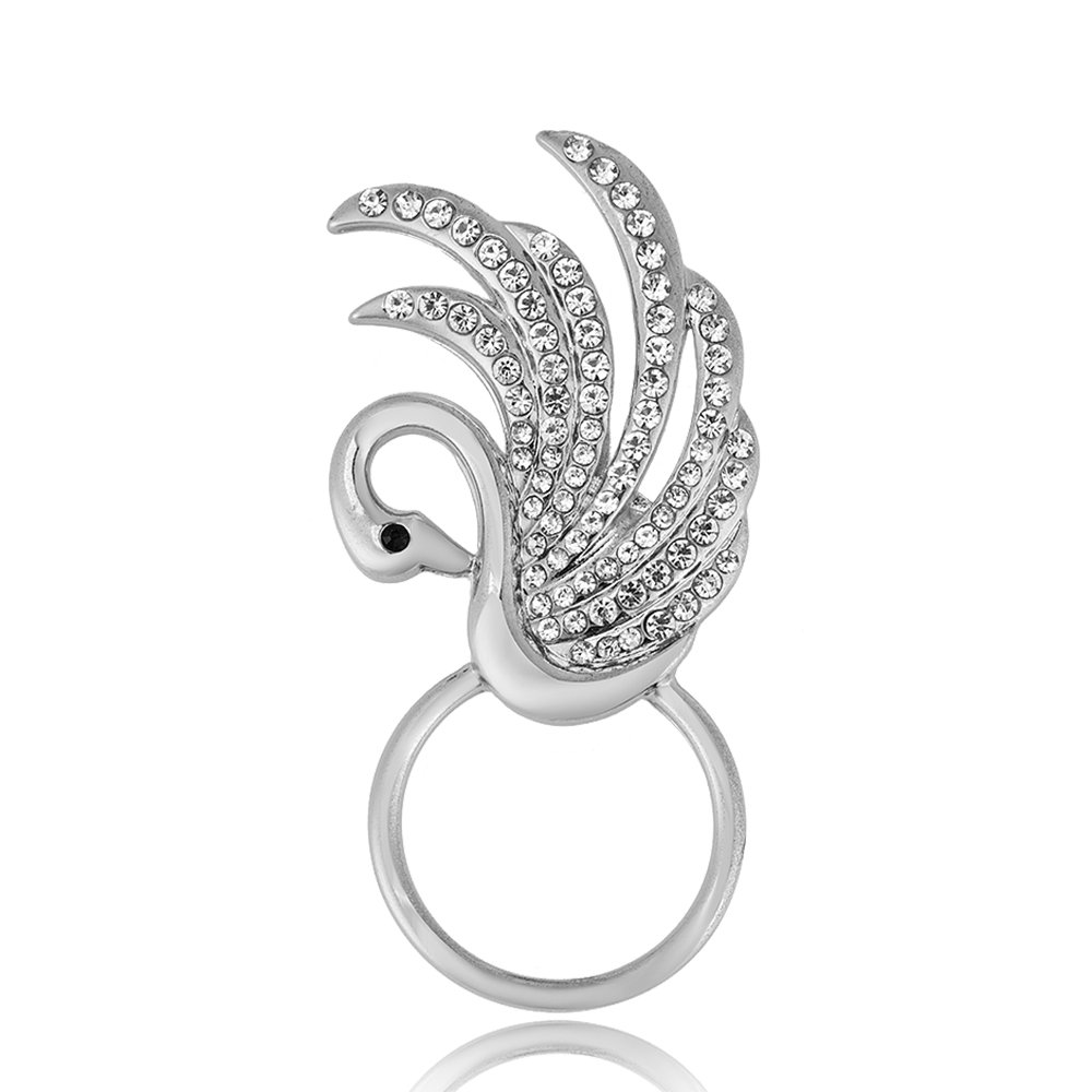 RUXIANG Swan Bird Magnetic Eyeglasses Holder Brooch Pin Jewelry for Women Girls (Gold) by RUXIANG (Image #2)