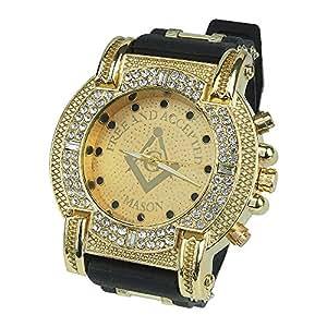 Gerosse Luminous Gold Watches for Men, Masonic Classic Men's Luxury Watch Crystal Diamond Dial Quartz Wrist Watch, Big Face Hip Hop Watch (Gold Dial)