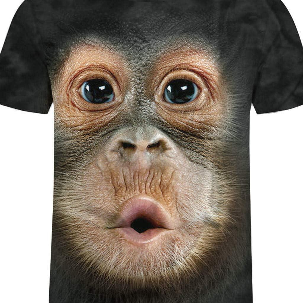 SQSH T-Shirt Short-Sleeve Men Summer Print Animal Monkey Gorilla Short Sleeve Funny Design Casual Top T-Shirt Men Large Size 6XL