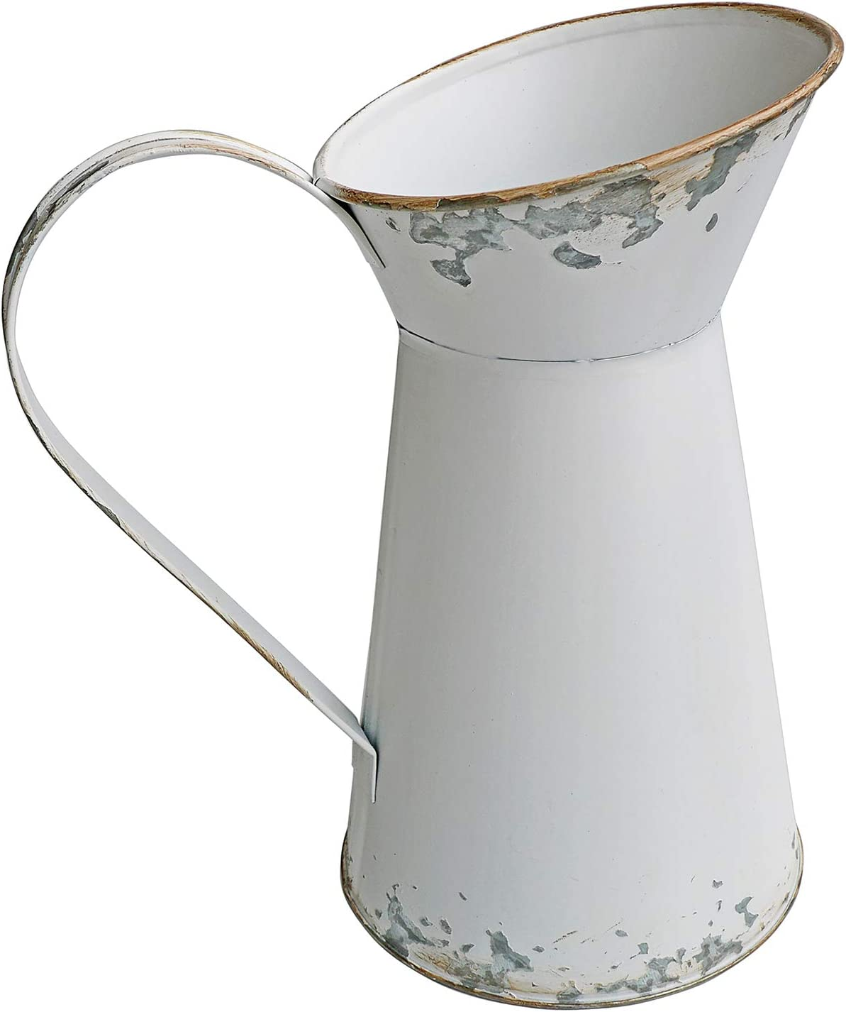 SHINGONE Vase de Fleurs en m/étal Blanc Petit Vase Vintage Pichet en m/étal D/écoration Maison Rustique Shabby Chic Pichet Blanc