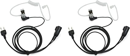 2Pcs Covert 2 Pin Acoustic Tube Earpiece Headset Mic for Motorola Radio Security