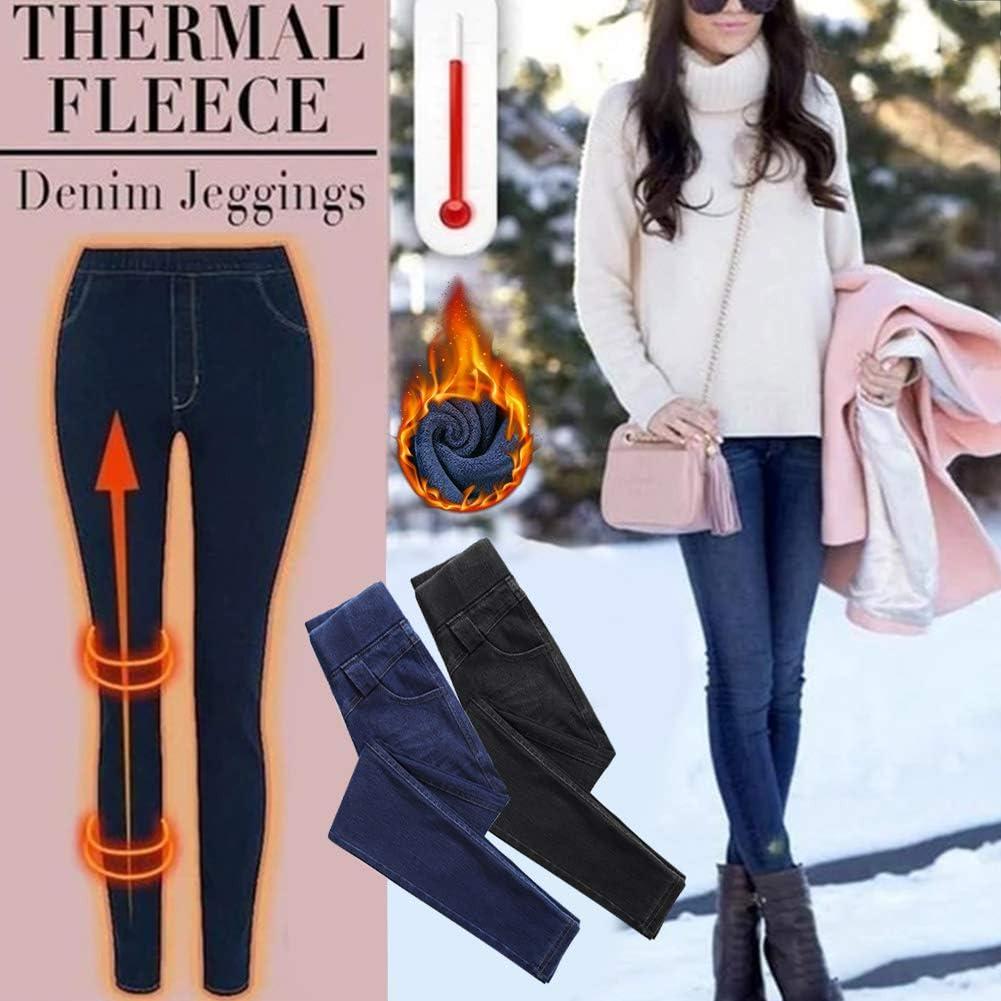 elasticizzati spessi aderenti casual skinny jeans in pile a vita alta caldi ad alta elasticit/à Jeggings in pile termico da donna pantaloni invernali JHCHA