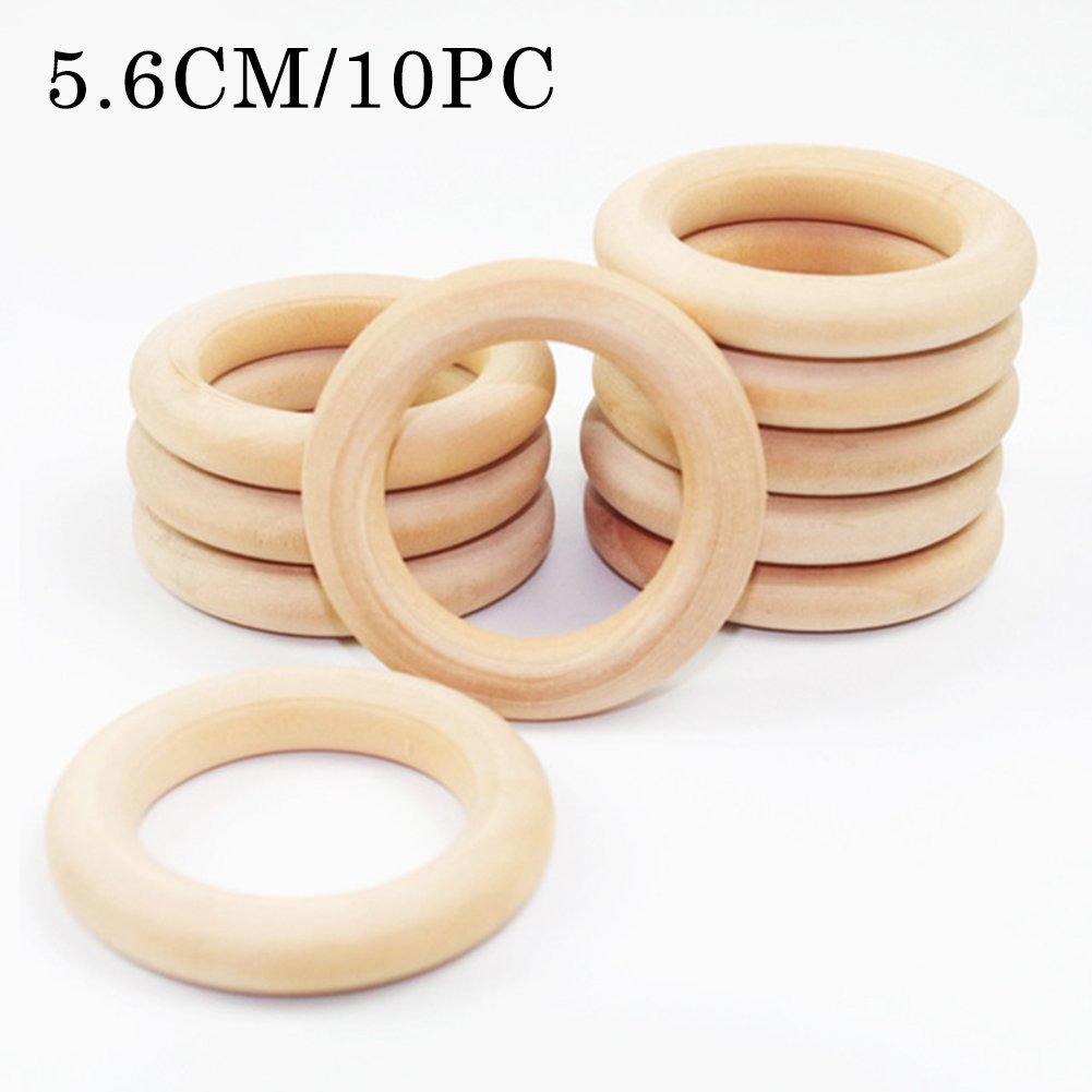 Baby Teether Anneaux de dentition en bois rond - 1, 6 pouces petits anneaux en bois inachevés pour DIY Baby Teether Toys Mamimami Home