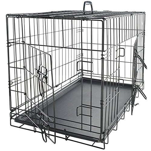 wisely-design-double-door-stainless-steel-black-metal-pet-crate-provides-security-and-quick-access-3