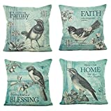 WOMHOPE 4 Pcs – 17″ Bird On The Tree Accent Countryside Hand Painted Style Throw Pillow Case Cushion Cover Fashion Home Decorative Pillowcase Cotton Sofa,Bed,Chair (E(Set of 4 pcs))