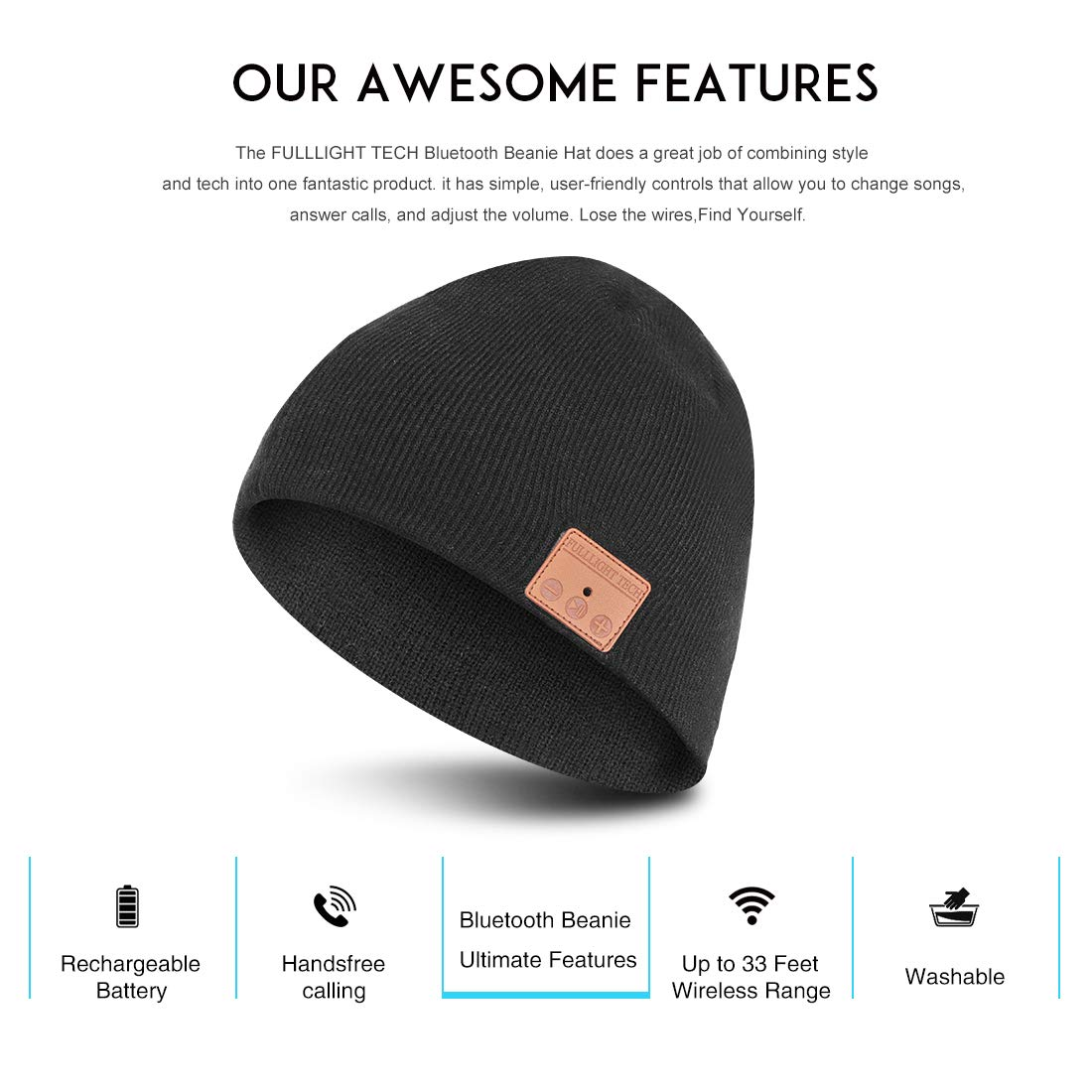 7e20e8ce301d1 Amazon.com  Upgraded V4.2 Bluetooth Beanie Hat Headphones Wireless Headset  Winter Music Speaker Hat Cap with Stereo Speakers   Mic Unique Christmas ...
