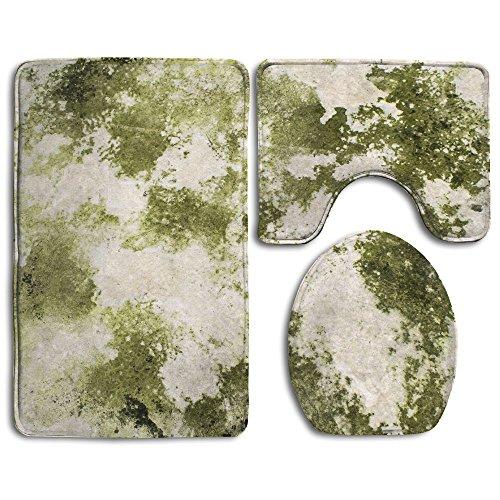 (Retro Splice Color Bath Mat Bathroom Carpet Rug Washable 3PCS Non-Slip Bath Room Mat Set )