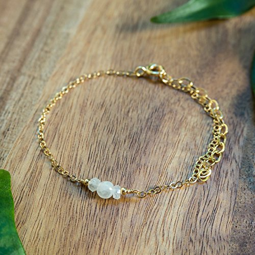 Dainty Crystal Moonstone Bracelet in 14k Gold Fill - June Birthstone 14k Gold Fill Crystal