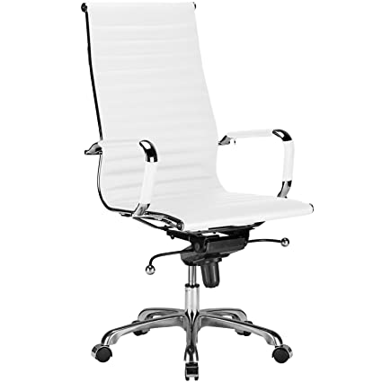 Poly and Bark Ribbed High Back Office Chair in Vegan Leather, White