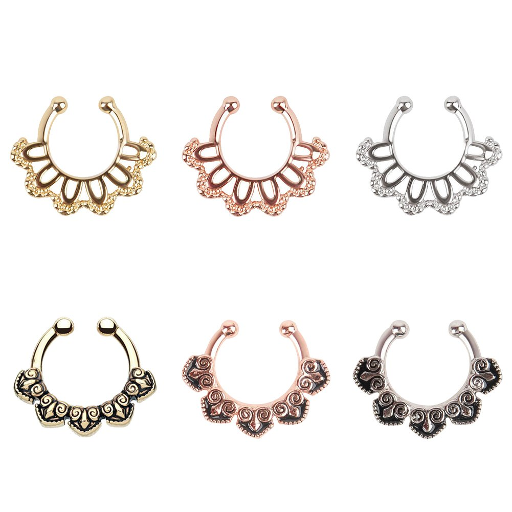 Yr Fashion Alloy Fake Septum Ring Nose Hoop Opal Non-Piercing Clicker Ring