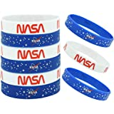 18 Pcs NASA Rubber Bracelets Silicone Wristbands Outer Space Party Supplies Blue and White Bracelets for Spaces Birthday Part