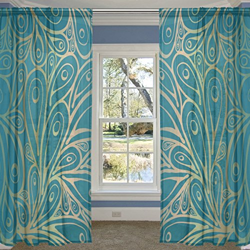 ALIREA Doodle Peacock Feathers Pattern Gradient Blue Sheer Curtain Panels Tulle Polyester Voile Window Treatment Panel Curtains For Bedroom Living Room Home Decor, 55x78 inches, 2 Panels Set