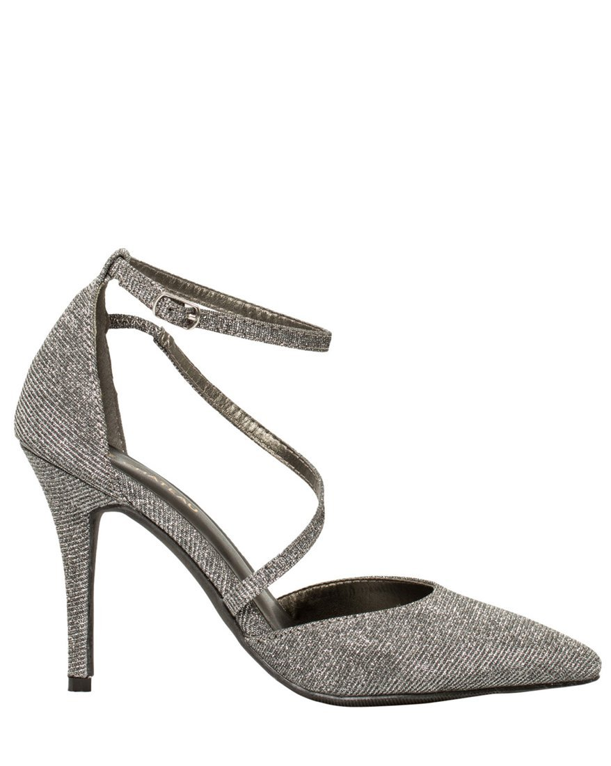 LE CHÂTEAU Women's Metallic Strappy Pointy Toe Pump,9,Pewter by LE CHÂTEAU