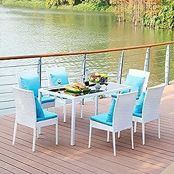 VECELO Dining Wicker Leisure Chairs, Indoor / Outdoor Patio Garden Leisure  Furniture White, Set  Indoor Patio Furniture