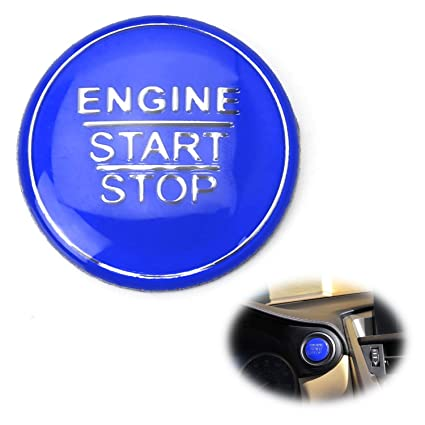 iJDMTOY (1) Gloss Blue Keyless Engine Push Start Button Cover For Toyota  Camry Tacoma Prius Avalon Mirai etc w/Push Start Engine On/Off Feature